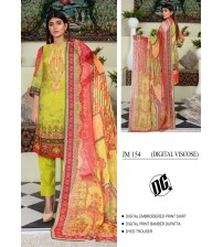 Embroidered digital viscose yellow suit