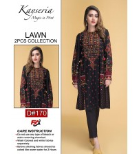 Embroidered schiffle lawn suit with trouser