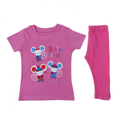 Round Neck Pink Color T-Shirt & Trouser For Baby Girls