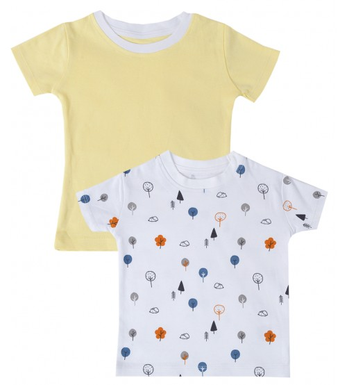 Pack of 2 - Yellow and White Tree T-Shirt For Kids