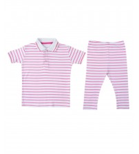 Polo Shirt & Trouser For Kids Pink Lining