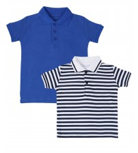 Pack of 2 - Blue And Black Lining Kids Polo Shirt