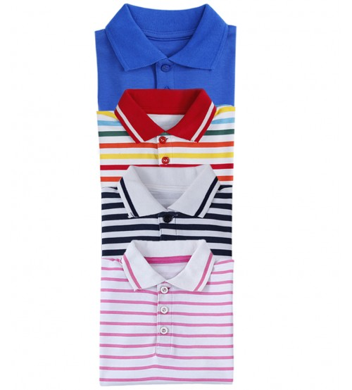 Pack of 4 Cotton Polo Shirts For Kids