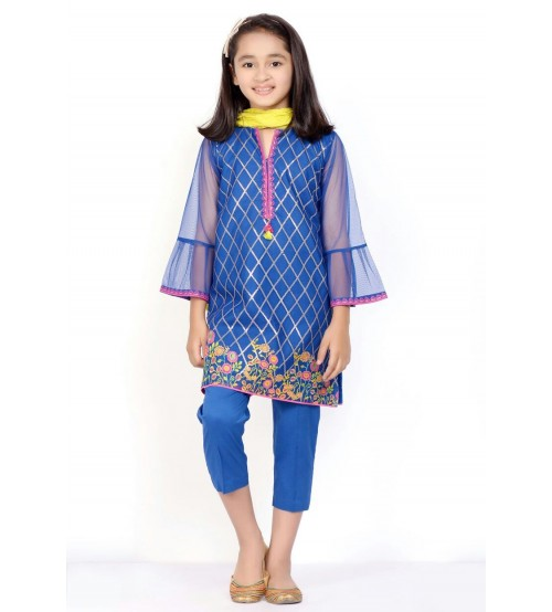 Blue Full Embroidered Linen Suit For Girls