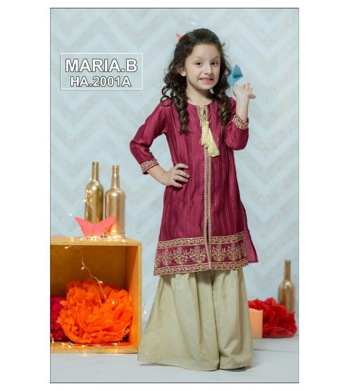 Embroidered  Magenta Kids Unstitched Linen Suits