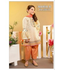 Kids Beautiful Light skin and Orange Embroidered Unstitched Linen Suits
