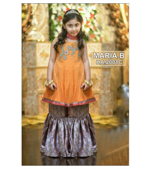 Kids Beautiful Light Orange Embroidered Unstitched Linen Suits