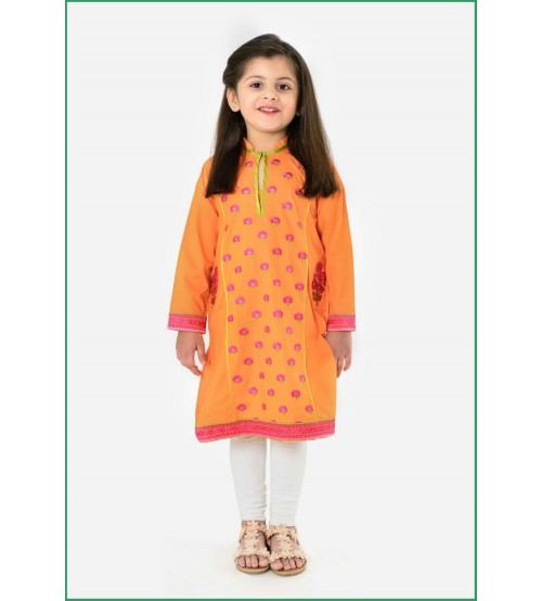 Orange Linen Kurta With Trousar For Girls