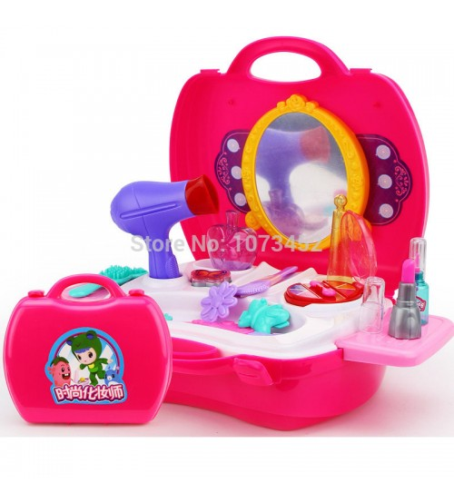 Plastic Pretend Play Children Simulation Dressing Table Play Set Toys Furniture Set for Girls Gifts include 18 PCS