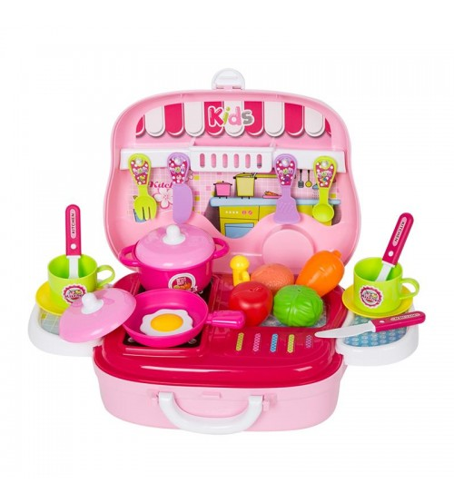 Girls Simulation Cookware Toy yellow Kitchen Set with Carrying Box Toys for Children
