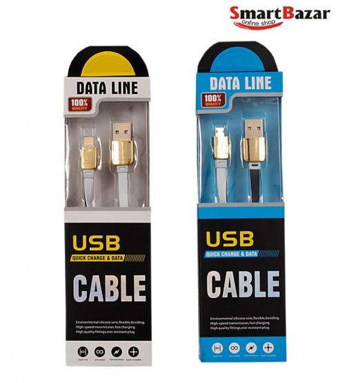 USB Quick Charger And Data Cable For Both Android and Apple