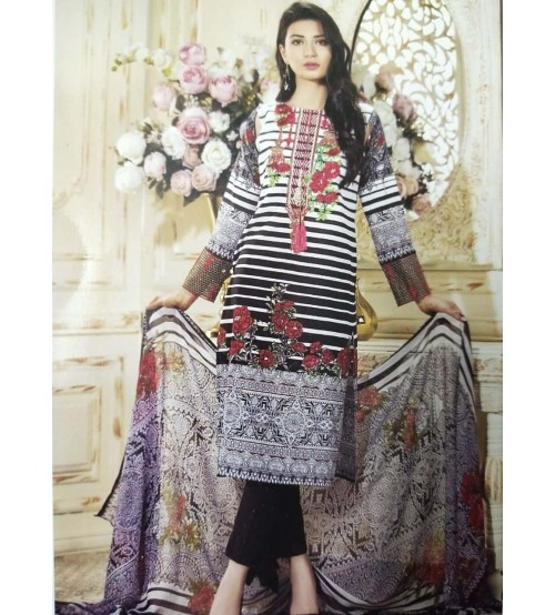 2 Piece lawn suit with neck Embroidered