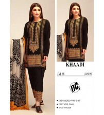 Beautiful Embroidered Khaadi Linen Black Suit With Wool Shawl