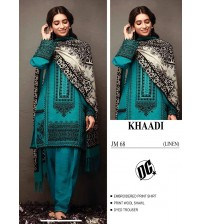 Awesome Embroidered Linen Suit with Wool Shawl