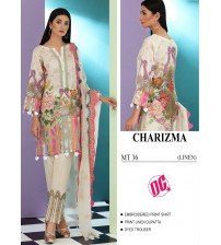 Stylish Printed Linen Suit with Embroidered Trouser