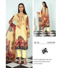 Amazing Yellow Linen Suit with Embroidered Printed