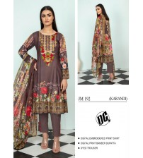 Awesome Fully Embroidered Linen brown Suit