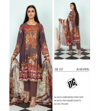 Nice Brown Linen Suit With Chiffon Dupatta