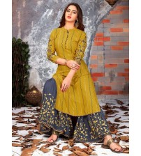 Beautfully Embroidered Linen Suit With lavish yellow shade trouser