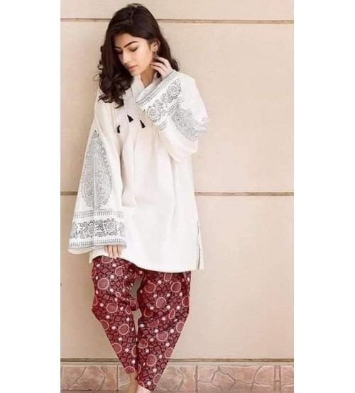 Fully Embroidered Linen White Suit With Red Truoser