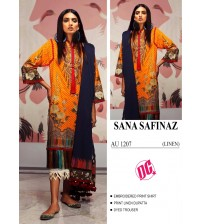 LInen Embroidered Suit With White Printed Trouser