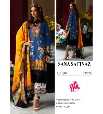 LInen Embroidered Suit With Black Printed Trouser