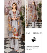 Beautiful Embroidered Linen grey Suit with Bamber Dupatta
