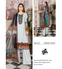 Beautiful embroidered suit with printed Chiffon Dupatta