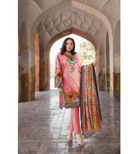 Awesome Embroidered Linen Suit With Dyed Trouser