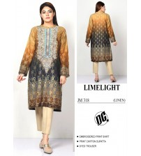 Beautiful Embroidered Linen Suit With Chiffon Dupatta