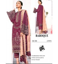 Amazing Printed Mehroon Linen Suit With Beautiful match Of chiffon Dupatta