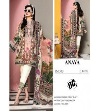 Beautiful Embroidered fully Linen Suit with Chiffon dupatta