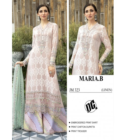 Beautiful Embroidered Pink Linen suit with dyed trouser