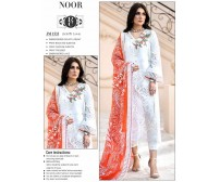 Beautiful White Chicken Lawn Suit with Red Chiffon Dupatta