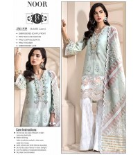Embroidered schiffle blue suit with printed sleeve