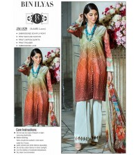 Embroidered red lawn suit with beautiful chiffon dupatta