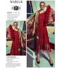 Embroidered Red Lawn Suit