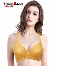 Embroidered Fancy Lightweight Shaping Bridal  Bra Yellow