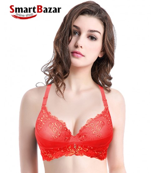 Red Nylon & Lace Lace Bloom Bra