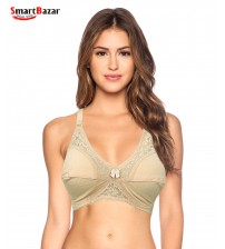 Full Coverage Wirefree Bra with LightWeight Fancy Net Jersey Bra
