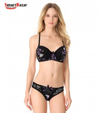 Soft Pad Pretty Printed Bikini Set Black