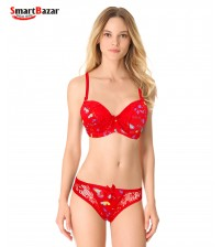 Soft Pad Red Pretty Printed Bikini Set