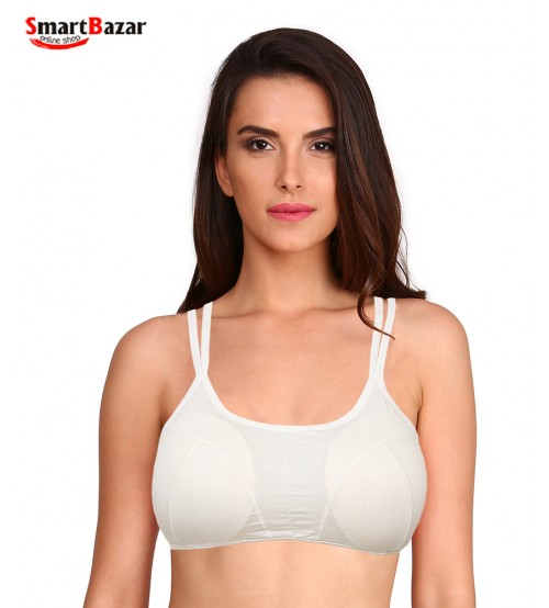 Full Cup Coverage Double Strap Bra With Stylish Back