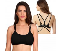 Double Strap padded Bra With Stylish Back Flower Unique Design