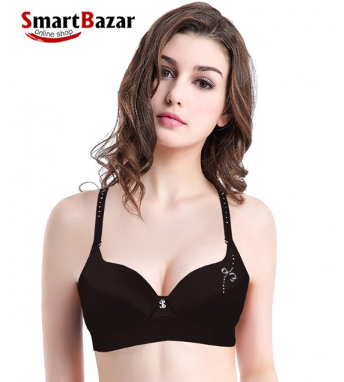 Comfortable Soft Padded Wired Stylish Bra Black