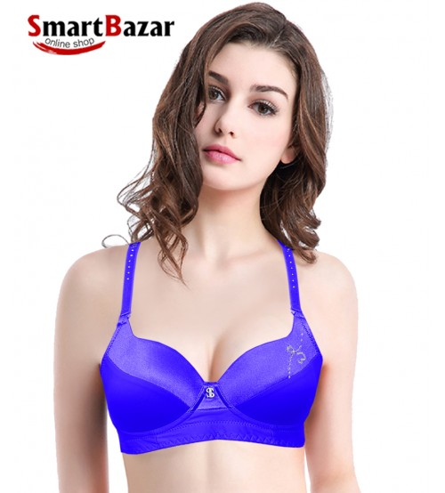 Soft Padded Wired Stylish Bra Blue