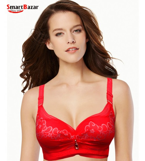 Beautiful Fancy Printed Plus embroidered Bra Red
