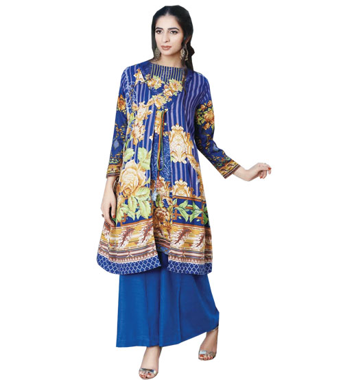 Blue Emboriderd Khaddar Suit For Women's