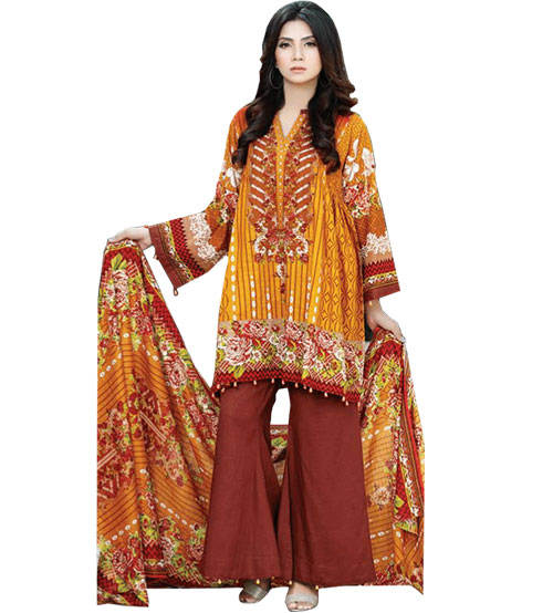 Brown Emboriderd Khaddar Suit For Women's