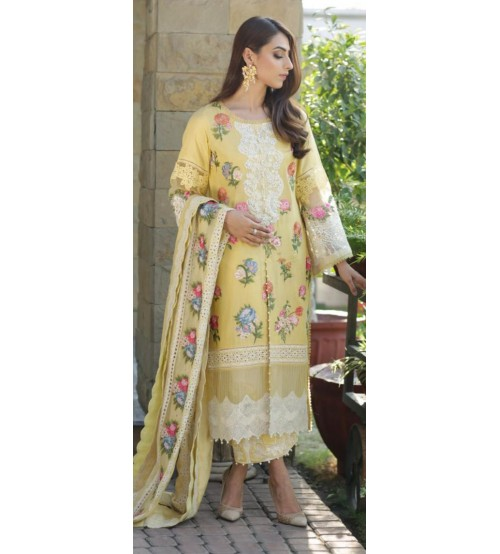 Embroidery Linen Suit With Chiffon Printed Dupatta